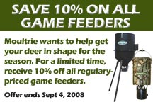 Receive 10% off all regularly priced Moultrie game feeders